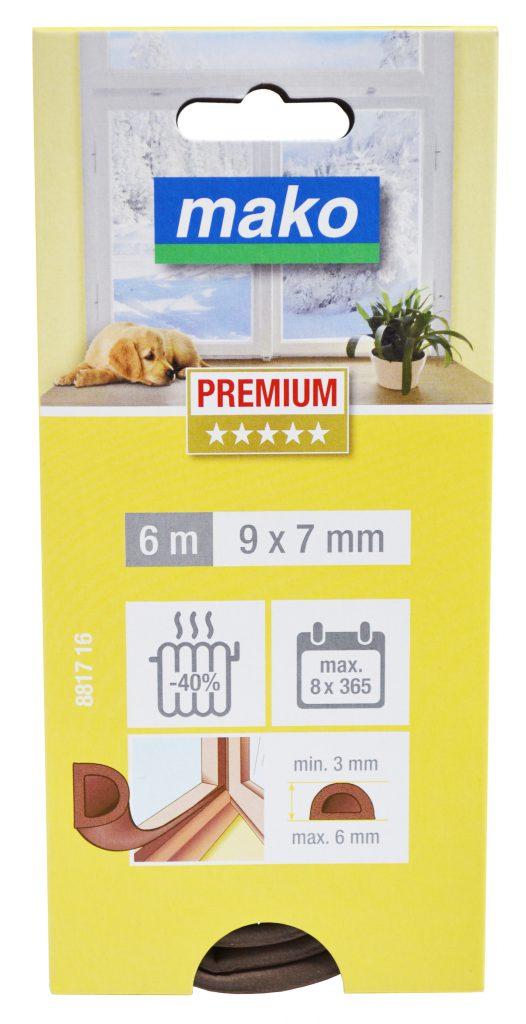 Těsnění gumové do oken a dveří (D 6mx9mmx7mm) hnědá